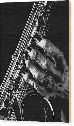 Monster Hand Saxophone Wood Print by M K  Miller