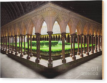 Mont Saint Michel Cloister Garden Wood Print by Elena Elisseeva