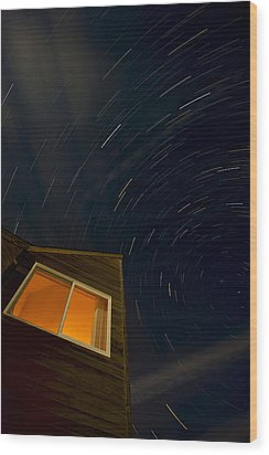 Montauk Star Trails Wood Print by Mike Horvath