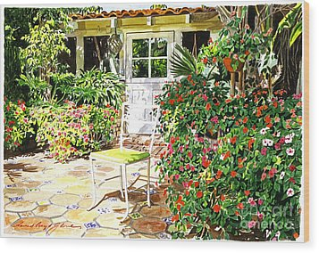 Monterey Guest House Wood Print by David Lloyd Glover