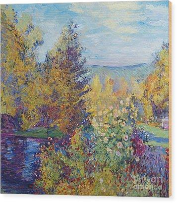 Montgeron  Garden Sur Les Traces De Monet  Wood Print by David Lloyd Glover