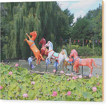 Montreal Botanical Gardens - Chinese Horses Wood Print