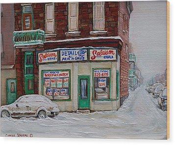 Montreal Corner Market Winter Scene Wood Print by Carole Spandau