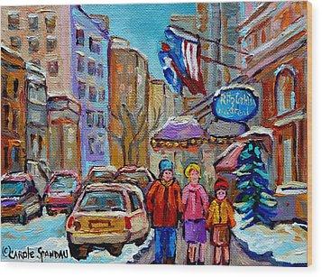 Montreal Street Scenes In Winter Wood Print by Carole Spandau