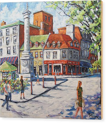 Montreal Street Urban Scene By Prankearts Wood Print by Richard T Pranke
