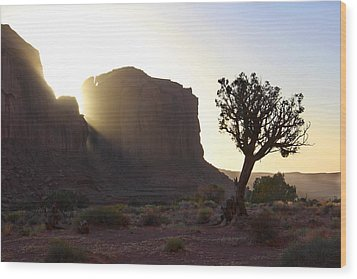 Monument Valley At Sunset Wood Print by Mike McGlothlen