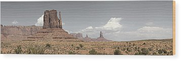Wood Print featuring the pyrography Monument Valley Desert Large Panorama by Mike Irwin