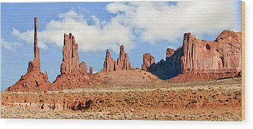 Monument Valley Totem Pole Wood Print by Bob and Nadine Johnston