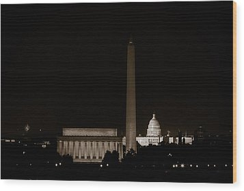 Monuments In Black And White Wood Print by David Hahn