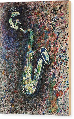 Wood Print featuring the drawing Moody Sax by Lynn Hughes