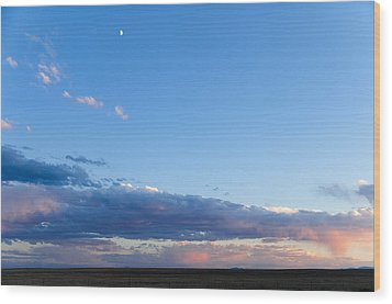 Moon Above The Horizon Wood Print by Monte Stevens