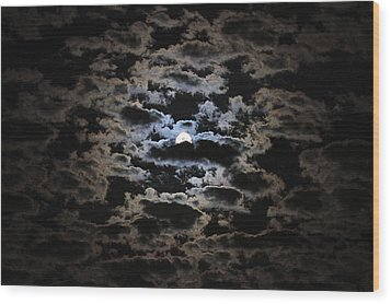 Moon And Clouds Wood Print