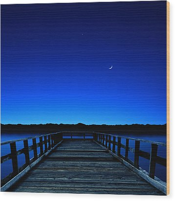 Moon And Venus In The Blue Wood Print by Carlos Gotay