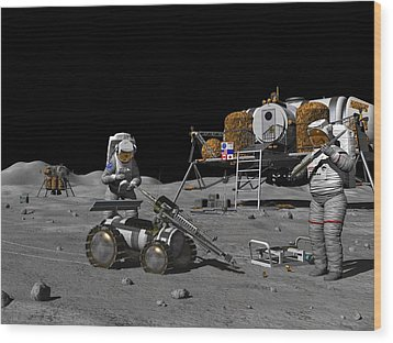 Moon Exploration, Artwork Wood Print by Walter Myers