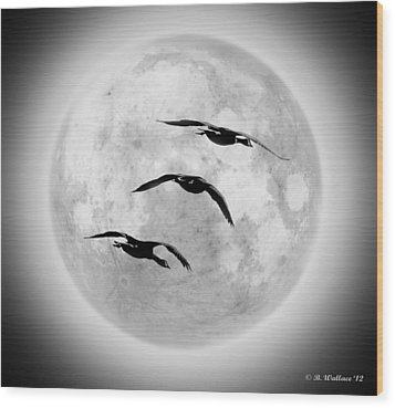 Moon Geese Wood Print by Brian Wallace