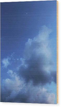 Moon In A Cloudy Sky At Twilight Wood Print by Gal Ashkenazi