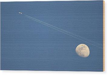 Moon In Sky Wood Print by Vittorio Ricci - Italy