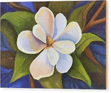 Moon Light Magnolia Wood Print by Elaine Hodges