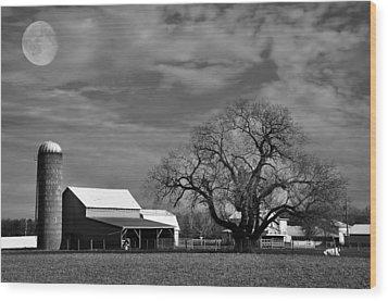 Moon Lit Farm Wood Print by Todd Hostetter