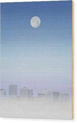 Moon Over Buildings Wood Print by Kelly Redinger
