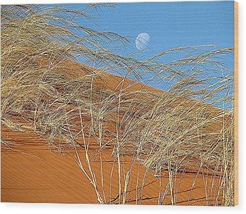 Moon Over Dune Wood Print
