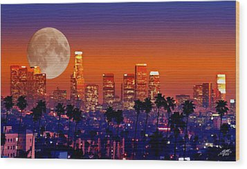 Moon Over Los Angeles Wood Print by Steve Huang