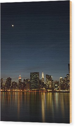 Moon Over Manhattan Wood Print by Photographs by Vitaliy Piltser