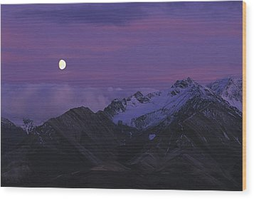 Moon Over Mountains Wood Print by Nick Norman