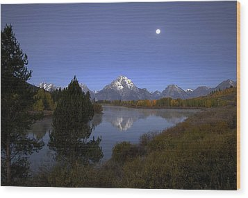 Wood Print featuring the photograph Moon Over Oxbow Bend The  Grand Tetons by Gordon Ripley