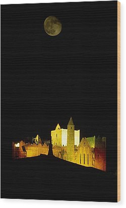 Moon Over Rock Of Cashel, Co Tipperary Wood Print by The Irish Image Collection