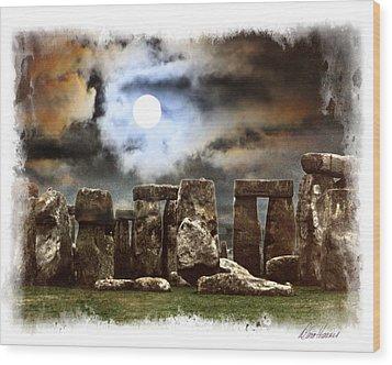 Moon Over Stonehenge Wood Print by Diana Haronis
