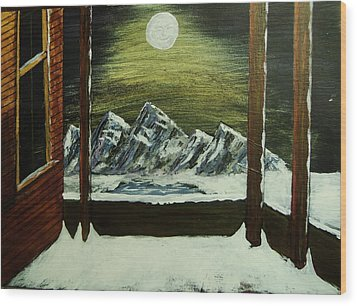 Moon Over The Mountains Wood Print by Gordon Wendling