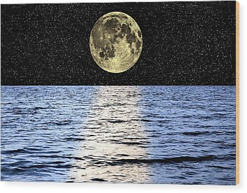 Moon Over The Sea, Composite Image Wood Print by Victor De Schwanberg