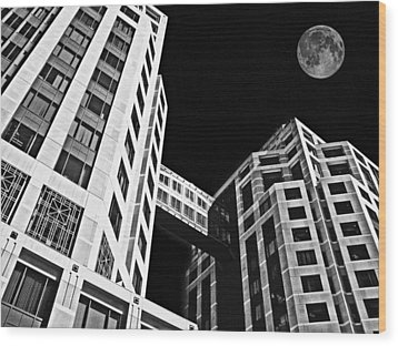 Moon Over Twin Towers 2 Wood Print by Samuel Sheats
