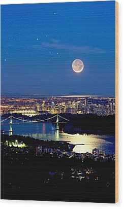 Moon Over Vancouver, Time-exposure Image Wood Print by David Nunuk