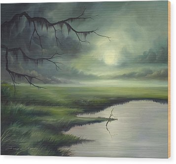 Moon Over Wadmalaw Island  Wood Print by James Christopher Hill