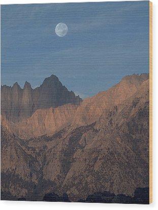 Moon Over Whitney Wood Print