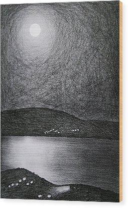 Moon Reflection On The Sea Wood Print
