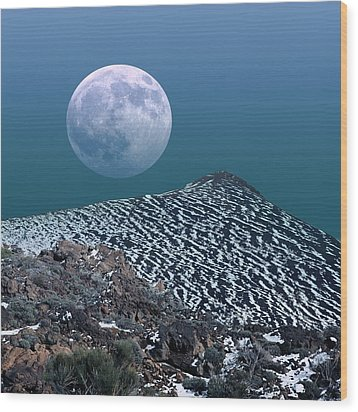 Moon-rise Over A Volcano Wood Print by Detlev Van Ravenswaay