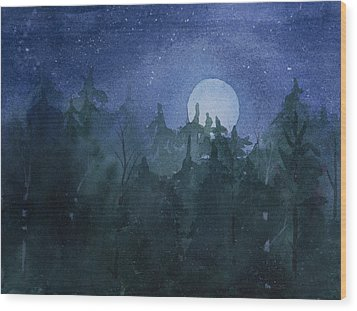 Moon Setting Over Forest Wood Print by Debbie Homewood