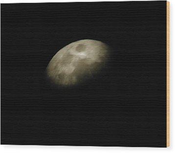 Moon Side Wood Print by Aliesha Fisher