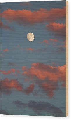 Moon Sunset Vertical Image Wood Print by James BO  Insogna