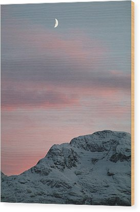Moon, Upper Engadine, St. Moritz Wood Print by Remo Steuble - Switzerland
