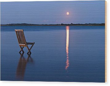 Wood Print featuring the photograph Moon View by Gert Lavsen