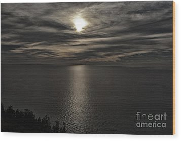 Moonglow Over Lake Michigan Wood Print by Christopher Purcell