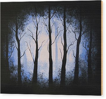 Wood Print featuring the painting Moonlight Forest by Edwin Alverio
