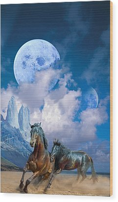 Moonlight Horses Wood Print by Pavlos Vlachos