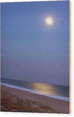 Moonlight On Ocean Wood Print by Doris Rudd Designs, Photography
