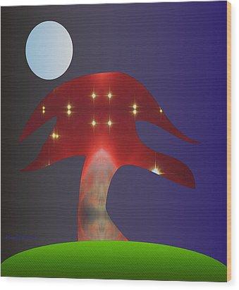 Wood Print featuring the digital art Moonlight Sonata by Asok Mukhopadhyay