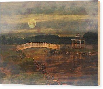 Moonlight Stroll Wood Print by Kathy Jennings
